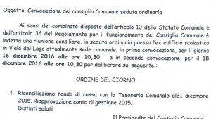 CONSIGLIO COMUNALE 16 DICEMBRE