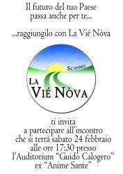 Scannio, La Viè Nova, invito a partecipare all'incontro che si terrà sabato 24 febbraio presso l'Auditorium Guido Calogero (ex Anime Sante)