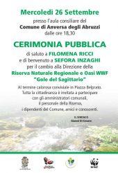 """CAMBIO DI DIRETTRICE ALLA RISERVA NATURALE REGIONALE """"GOLE DEL SAGITTARIO� E OASI WWF DI ANVERSA"""