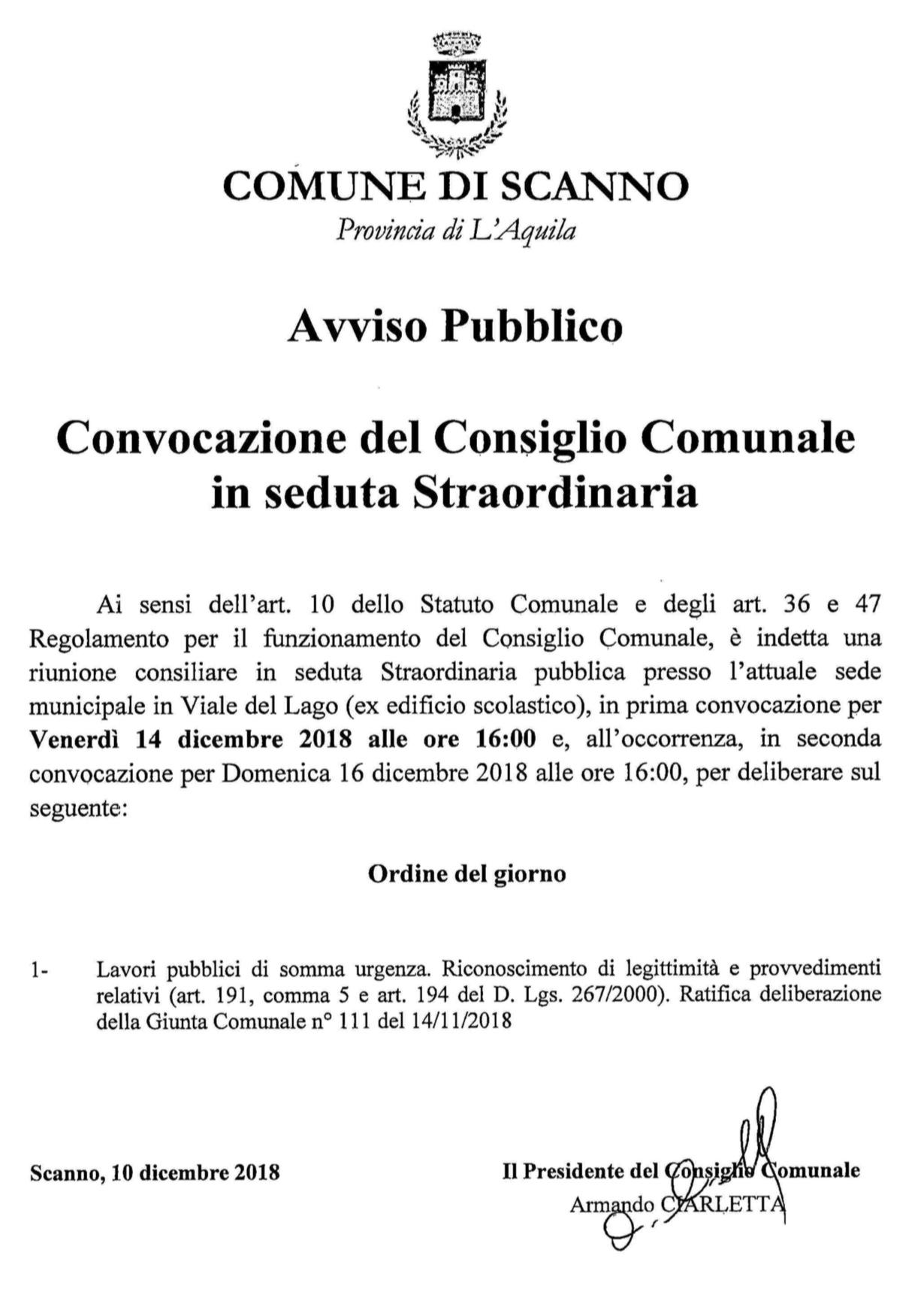Convocazione straordinaria consiglio comunale